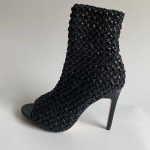 Zara black weave shoes boots heels size 7.5